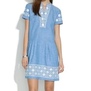 Madewell blue ivory embroidered dress